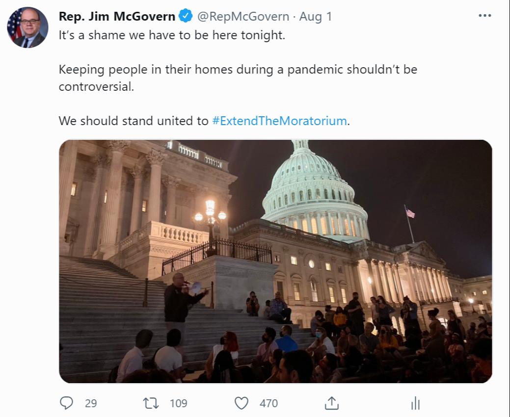 McGovern Eviction Moratorium Tweet